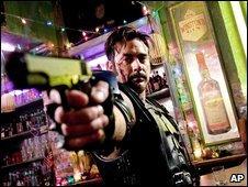 Jeffrey Dean Morgan as The Comedian in a scene from the Watchmen film