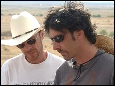 The Coen brothers on the set of No Country For Old Men
